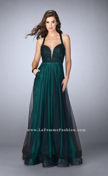 Picture of: A-line Tulle Dress with Lace Top and Deep V Neckline in Green, Style: 24034, Main Picture