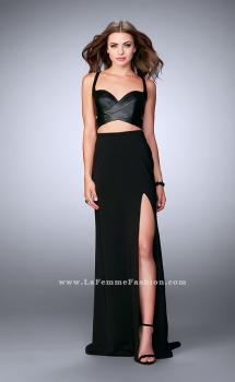 Picture of: Two Piece Dress with Vegan Leather Top and Cut Outs, Style: 24036, Main Picture