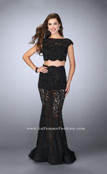 Picture of: Lace Two Piece Romper Dress with Sheer Lace Skirt in Black, Style: 24038, Main Picture