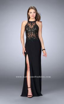 Picture of: Long Jersey Dress with Sheer Lace Top and Cut Out Back in Black, Style: 24044, Main Picture
