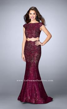 Picture of: Two Piece Lace Dress with Scalloped Edges and Back in Red, Style: 24047, Main Picture