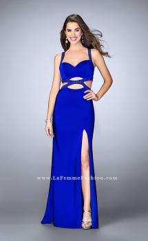 Picture of: Fitted Jersey Dress with Cut Outs a Beaded Back in Blue, Style: 24048, Main Picture