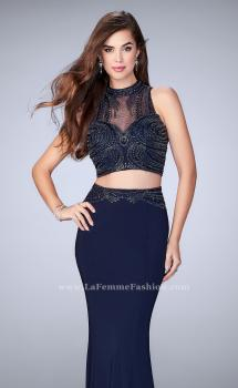 Picture of: Two Piece Prom Dress with an Illusion Neckline, Style: 24051, Main Picture