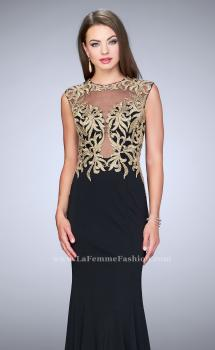 Picture of: High Neck Lace Dress with Sheer Illusion Neckline in Black, Style: 24054, Main Picture