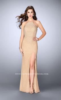 Picture of: Long High Neck Beaded Prom Dress with Side Slit in Nude, Style: 24061, Main Picture