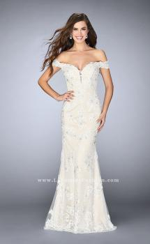Picture of: Long Tulle Prom Dress with Beaded Lace Appliques in White, Style: 24068, Main Picture