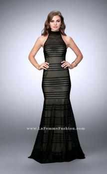Picture of: Striped Fishnet Prom Dress with Keyhole, Style: 24076, Main Picture