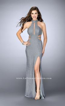 Picture of: Long Beaded Prom Dress with Attached Belt in Silver, Style: 24084, Main Picture