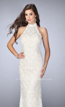 Picture of: Beaded Lace Prom Dress with Open Back in White, Style: 24089, Main Picture