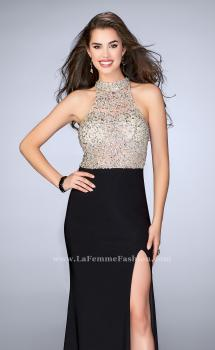 Picture of: Jersey Prom Gown with Sheer Beaded Top, Style: 24090, Main Picture