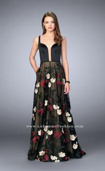 Picture of: Floral A-line Prom Dress With Satin Top and Lace Skirt, Style: 24099, Main Picture