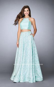 Picture of: Floral Two Piece A-line Dress with High Neck Top in Blue, Style: 24101, Main Picture