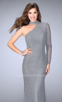 Picture of: One Shoulder Beaded Dress With Choker and Open Back in Silver, Style: 24105, Main Picture