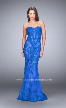 Picture of: Strapless Fitted Lace Dress with Sweetheart Neckline in Blue, Style: 24106, Main Picture