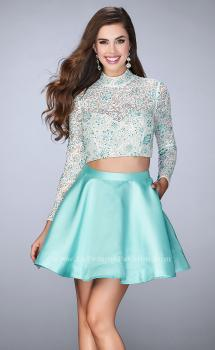 Picture of: Short Two Piece Dress with Long Sleeve Lace Top in Blue, Style: 24107, Main Picture