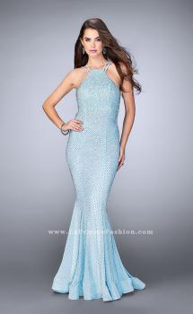 Picture of: Long High Neck Prom Dress with Open Back in Blue, Style: 24108, Main Picture