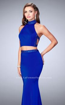 Picture of: Beaded Collar Long Prom Dress with Cut Outs in Blue, Style: 24119, Main Picture