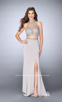 Picture of: Long Beaded Two Piece Prom Dress with Side Slit in Silver, Style: 24126, Main Picture
