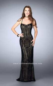 Picture of: Beaded Vintage Lace Dress with Scoop Neckline, Style: 24131, Main Picture