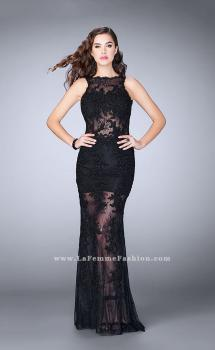 Picture of: Lace Romper Prom Dress with Scalloped V Back, Style: 24145, Main Picture