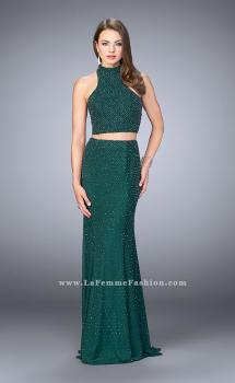 Picture of: Beaded Two Piece Prom Dress with Open Back in Green, Style: 24158, Main Picture