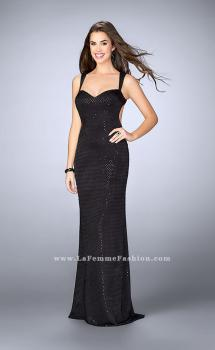Picture of: Beaded Gown with Sweetheart Neckline and Open Back in Black, Style: 24167, Main Picture