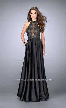 Picture of: High Neck A-line Prom Dress with Full Satin Skirt, Style: 24169, Main Picture