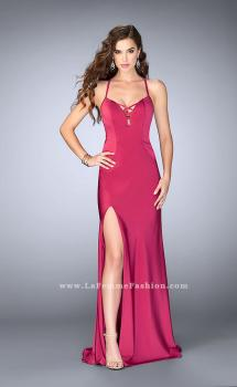Picture of: Long Fitted Jersey Prom Dress with a Lace Up Neckline in Pink, Style: 24170, Main Picture