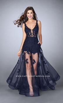 Picture of: Sheer Lace Romper Prom Gown with Pockets in Blue, Style: 24172, Main Picture