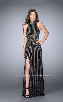 Picture of: High Collar Long Prom Gown with Beading, Style: 24173, Main Picture