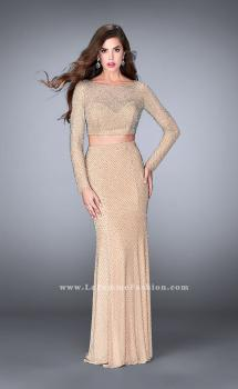 Picture of: Long Sleeve Two Piece Dress with Cold Shoulders in Nude, Style: 24175, Main Picture