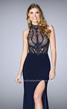 Picture of: Embroidered Prom Gown with High Neck and Side Slit in Blue, Style: 24194, Main Picture
