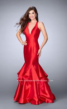 Picture of: Long Mermaid Ruffle Dress with Deep V Neckline, Style: 24197, Main Picture