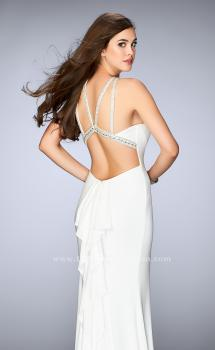 Picture of: Fitted High Neck Jersey Dress with Ruffles and Beading in White, Style: 24199, Main Picture