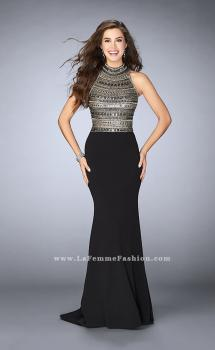 Picture of: Long Jersey Prom Dress with Beading and Open Back in Black, Style: 24201, Main Picture
