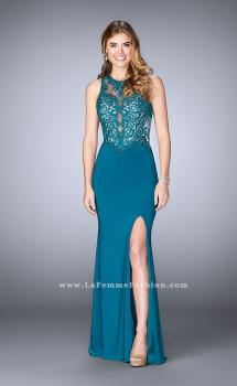 Picture of: High Neck Sheer Lace Prom Dress with Side Slit in Blue, Style: 24202, Main Picture