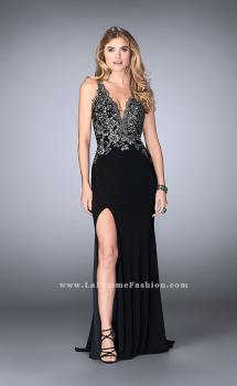 Picture of: Fitted Jersey Dress with Metallic Lace and Open Back in Black, Style: 24206, Main Picture