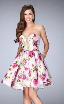 Picture of: Short Floral Dress with Rose Print and Deep V Neckline, Style: 24211, Main Picture