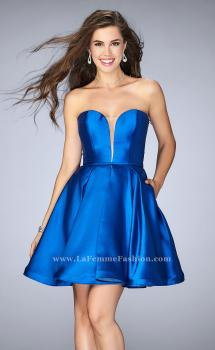 Picture of: Short Party Dress with Deep V Neckline and Pockets, Style: 24212, Main Picture