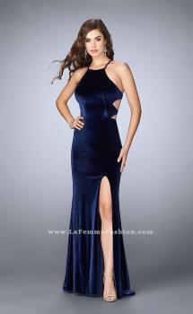 Picture of: Velvet Prom Dress with High Neck and Pockets in Blue, Style: 24218, Main Picture