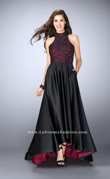 Picture of: High Low Prom Dress with Lace Top and Strappy Back, Style: 24234, Main Picture