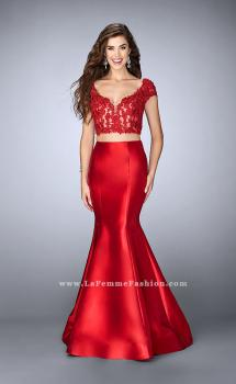 Picture of: Two Piece Mermaid Dress with Lace Top and Cap Sleeves in Red, Style: 24239, Main Picture