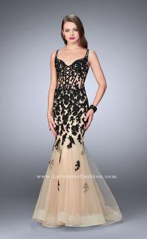 Picture of: Lace Mermaid Gown with Tulle Skirt and Lace Up Front, Style: 24240, Main Picture
