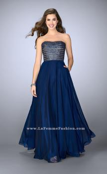 Picture of: Strapless A-line Gown with Beaded Top and Chiffon Skirt, Style: 24246, Main Picture