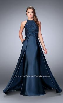 Picture of: High Neck Cape Dress with Mikado Skirt and Lace Top, Style: 24252, Main Picture