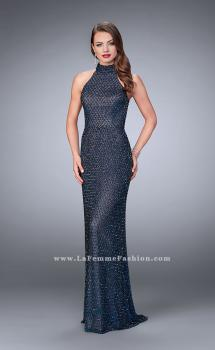 Picture of: Long Prom Gown with Beading and Racer back in Blue, Style: 24258, Main Picture