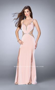 Picture of: Fitted Prom Dress with Slits and Beaded Side Cut Outs in Pink, Style: 24259, Main Picture