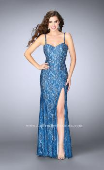 Picture of: Fitted Lace Dress with Stones and Sweetheart Neckline in Blue, Style: 24260, Main Picture