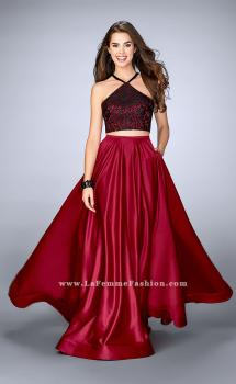 Picture of: Two Piece A-line Dress with Satin Skirt and Lace Top in Red, Style: 24264, Main Picture