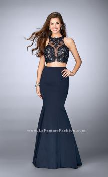 Picture of: Long Two Piece Prom Dress with Lace and Pockets in Blue, Style: 24265, Main Picture